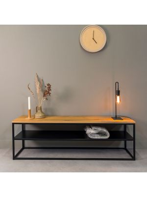 24Designs Power TV meubel – B160 x D40 x H50 cm – Zwart Metaal – Eikenhout Naturel