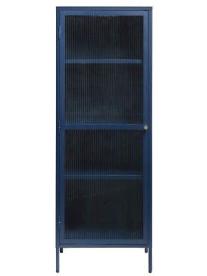 24Designs Prato Vitrinekast 1-Deur - B57 x D40 x H160 cm - Staalblauw