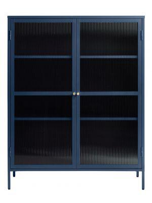 24Designs Prato Vitrinekast 2-Deurs - B110 x D40 x H140 cm - Staalblauw