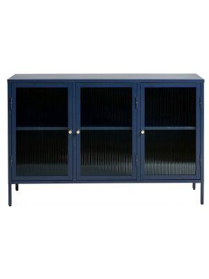 24Designs Prato Vitrinekast 3-Deurs - B132 x D40 x H85 cm - Staalblauw