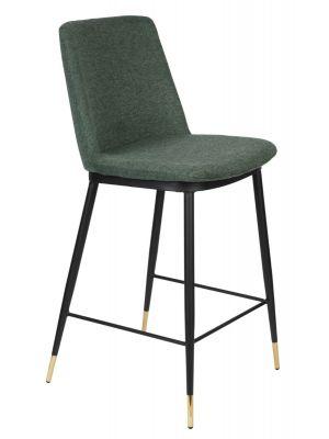24Designs Rafa Counterkruk - Stof Groen - Zithoogte 65 cm - Set van 2 - Zwart Metaal
