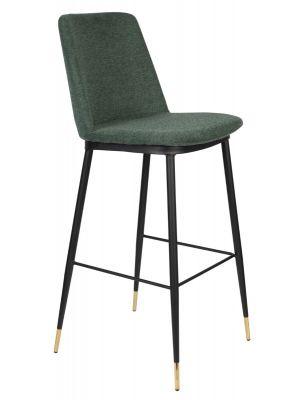 24Designs Rafa Barkruk - Stof Groen - Zithoogte 75 cm - Set van 2 - Zwart Metaal