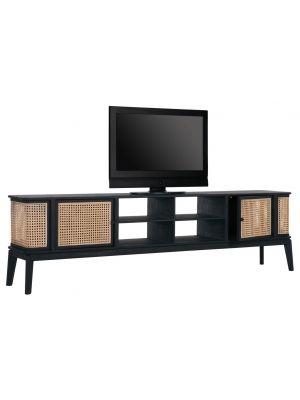 24Designs Raffles Webbing Tv-Meubel - B213 x D40 x H60 cm - Zwart Mindi Hout