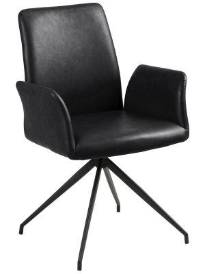 24Designs Riff Draaibare Stoel - Zwart Vintage Kunstleer - Zwart Onderstel