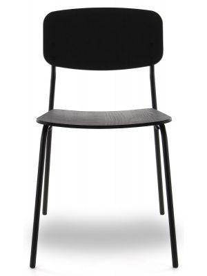 24Designs Roy Stoel - Set van 2 - Zwart Eiken - Zwart Metalen 4-Poots Frame