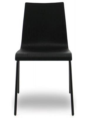 24Designs Ruben Stoel - Set van 2 - Zwart Eiken - Zwart Metalen 4-Poots Frame