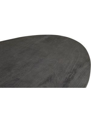 24Designs Salento Ovale Tafel L240 x B120 x H78 - Tafelblad Zwart Mangohout - Zwart Metaal