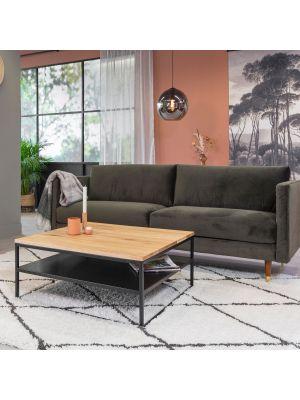 24Designs Salontafel Power – Vierkant 90 cm – Metaal – Eiken Tafelblad