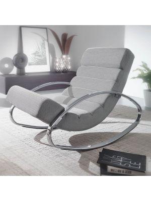 24Designs Schommelstoel Relax Fauteuil Amy – Stof Grijs - Verchroomd Metalen Frame