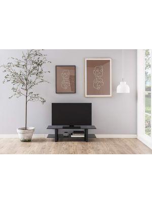 24Designs Serenity TV-meubel - B120 x D45 x H32 cm - Smoke Glas - Mat Zwart Metaal