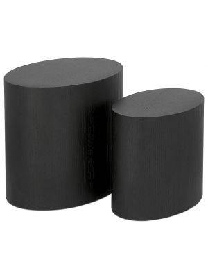 24Designs Set van 2 Ovale Bijzettafels Moa - Zwart Gebeitst Eikenhout