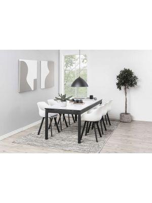 24Designs Jaylin Stoel - Set van 2 - Wit Kunststof + Grijs Zitkussen - Zwarte Metalen Poten