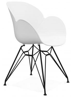 24Designs Stoel Elynn - Zitting Wit Kunststof - Zwart Onderstel
