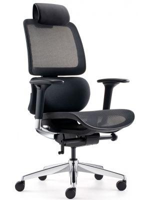 24Designs Sigma Synchro-3 Ergonomische Bureaustoel Hoofdsteun - Zwarte Stof/Mesh - Chromen Onderstel