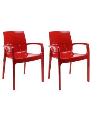24Designs Stoel Bradford - Set van 2 - Kunststof Hoogglans Rood