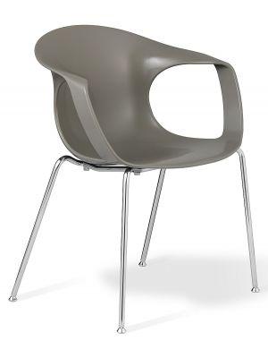 24Designs Brescia Stapelbare Stoel - Set van 2 - Zitting Grijs - Chromen Onderstel