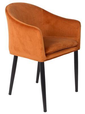 24Designs Stoel Louise - Oranje Velvet Fluweel - Zwarte Metalen Poten