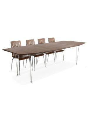 24Designs Uitschuifbare Tafel Business - 170/270 cm - Walnoot Tafelblad - Metalen Poten