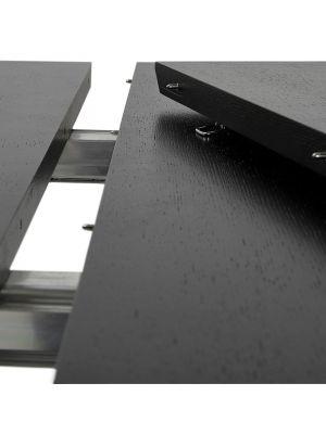 24Designs Uitschuifbare Tafel Business 170/270 cm - Tafelblad Zwart Essenhout - Zwarte Poten