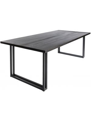 24Designs Proud Eettafel – L240 x B100 x H77 cm – Eikenhout – Zwart Onderstel