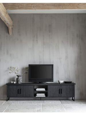 24Designs Timeless Large NO.2 Beam TV-Meubel - H55 x B220 x D40 cm - Teakhout Zwart