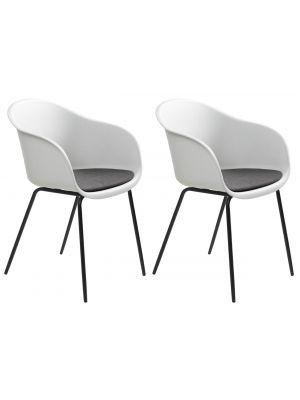 24Designs Tom Stoel Armleuningen - Set van 2 - Wit/Grijs Zitkussen - Zwart Metalen Poten