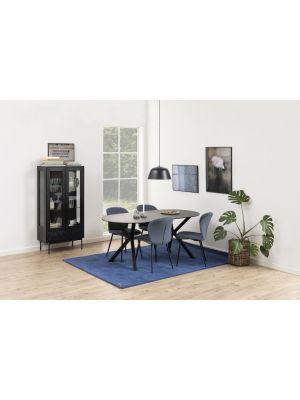 24Designs Turville Ovale Eettafel - L180 x B90 x H74 cm - Zwart Glas/Keramiek
