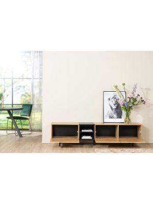 24Designs Bodio Tv-meubel - B195 x D37 x H48 cm - Eiken Decor