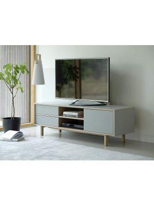 24Designs Harstad TV-Meubel 1-Deur/2-Laden - B160xD45xH50 cm - Grijs HPL - Eiken White Wash