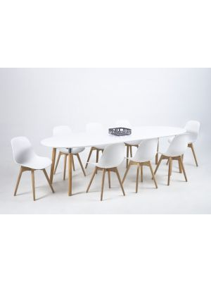 24Designs Uitschuifbare Ovale Eettafel Jassmin - L170/270 cm - Wit Tafelblad - Houten Poten