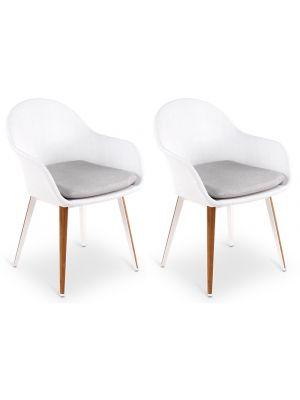 24Designs Valencia Tuin & Terrasstoel - Wit Textileen incl. zitkussen - Set van 2 - Teakhout