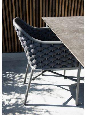24Designs Vasca Tuin & Terrasstoel - Set van 4 - Antracietgrijs Textileen incl. zitkussen