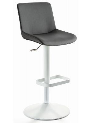 24Designs Verstelbare Barkruk Dean - Grijs Kunstleer - Mat Wit Onderstel