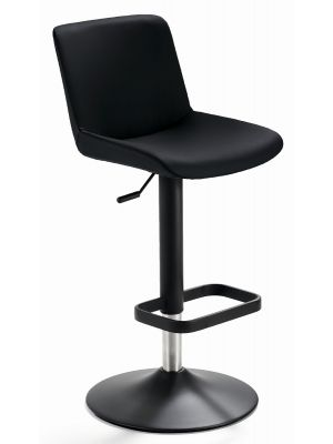 24Designs Verstelbare Barkruk Dean - Zwart Kunstleer - Mat Zwart Onderstel