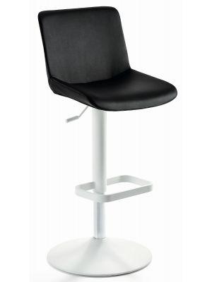 24Designs Verstelbare Barkruk Dean - Zwart Kunstleer - Mat Wit Onderstel