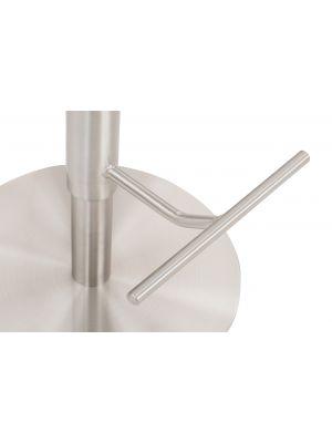 24Designs Fedor Hoge Rugleuning Verstelbare Barkruk - Wit - Geborsteld Staal