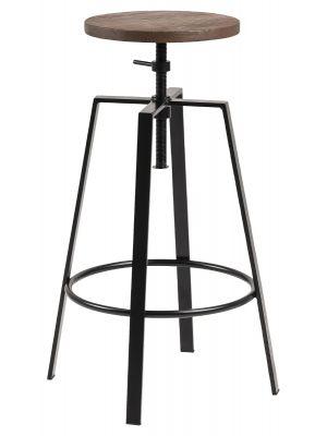 24Designs Halewood Verstelbare Barkruk - Ronde Houten Zitting - Zwart Metaal