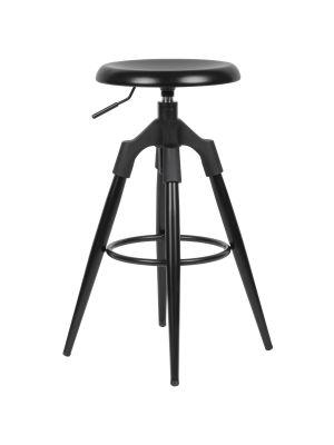 24Designs Industrial Verstelbare Barkruk - Zithoogte 72 - 80 cm - Zwart Metaal