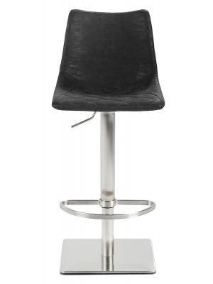 24Designs Jake Verstelbare Barkruk - Vintage Antracietgrijs Kunstleer - RVS Onderstel