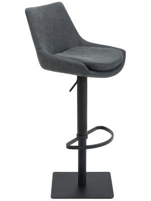 24Designs Verstelbare Barkruk Levi - Zwart Vintage Kunstleer - Zwart Onderstel