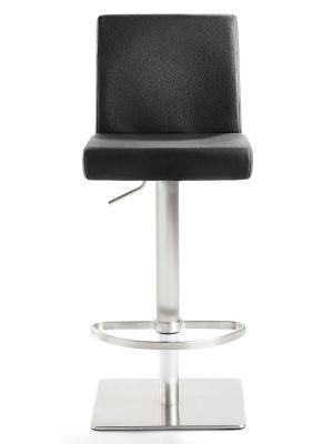 24Designs Verstelbare Barkruk Mack - Zwart Leer - Mat Geborsteld Staal