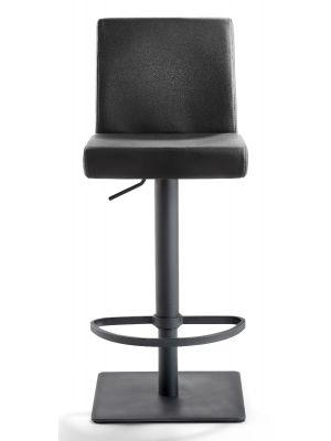 24Designs Verstelbare Barkruk Mack - Zwart Leer - Zwart Onderstel