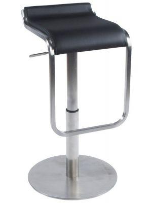 24Designs Verstelbare Barkruk Mikayla - Zwart Kunstleer - Geborsteld Staal