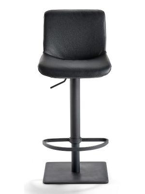 24Designs Verstelbare Barkruk Owen - Zitting Zwart Kunstleer - Zwart Onderstel