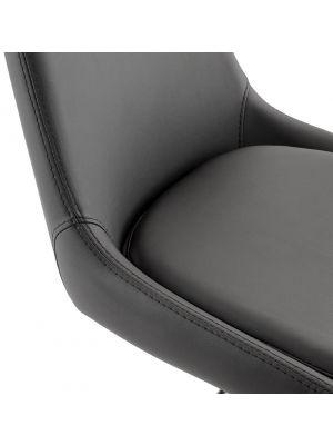 24Designs Scott Barkruk - Zithoogte 53 - 80 cm - Zwart Kunstleer - RVS Onderstel