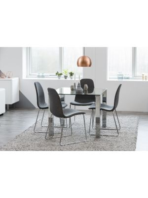 24Designs Crystal Eettafel - L90 x B90 x H75 cm - Glazen Tafelblad - Chromen Poten