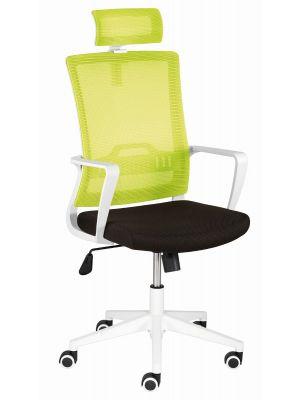 24Designs Vision Bureaustoel - Stof Groen/Zwart - Witte Kruispoot