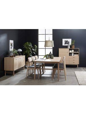 24Designs Herborg Stoel - Set van 2 - Zwart Kunstleer - Eiken