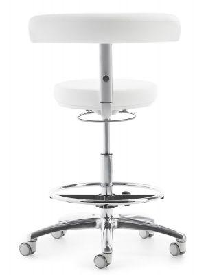 24Designs Hoge Werkstoel Medline Xtra Rugleuning - Wit Kunstleer - Kruispoot met Wielen