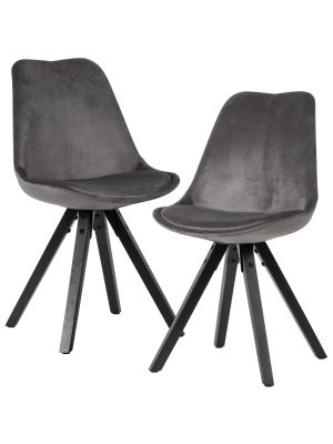 24Designs XAM Stoel - Set van 2 - Grijs Fluweel - Zwarte Houten Poten
